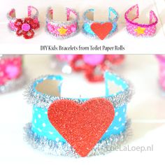 DIY Kids: cute bracelets, made from toilet paper rolls!