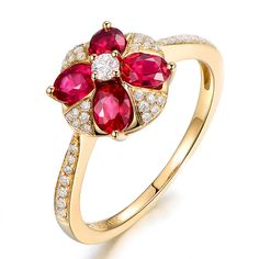Beautiful 1.02ct Natural Red Ruby in 18K Gold Ring by CHARMES Jewellery