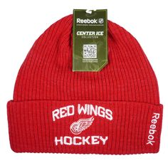 Detroit Red Wings One Size Fits All Cuff Knit Beanie NHL OSFA Hat Cap. Detroit Red Wings Cuff Knit Beanie. Quality Raised Embroidered Team Logo. This Hat Has Team Colors. Adult One Size Fits All - OSFA. Reebok / NHL Authentic Product.