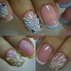 Pretty butterfly accents over french manicure