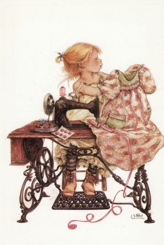 sarah kay sewing on a sewing machine Images Vintage, Vintage Pictures, Vintage Cards, Holly Hobbie, Sewing Art, Sewing Rooms, Couture Vintage, Antique Sewing Machines, Sewing Notions