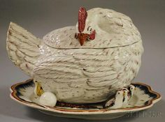 Ceramic Hen-form Serving Tureen, with two eggs