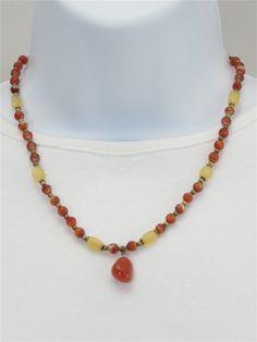 Carnelian brass yellow jade necklace set,                gemstone necklace, beaded, pendant, matching earrings, yellow, orange, stones