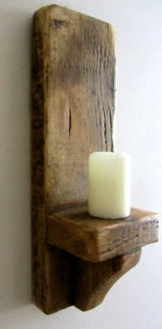 38CM-SOLID-PLANK-WOOD-RUSTIC-WAXED-WALL-SCONCE-CANDLE-HOLDER £24.99