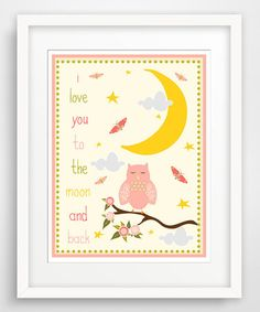 Love this Pink 'I Love You to the Moon' Owl Giclée Print by Finny and Zook on #zulily! #zulilyfinds