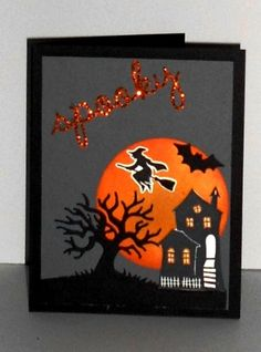 www.craftyjackie.stampinup.net, Halloween scares & spooky fun stamp sets used with edgelits from new catalog. visit the link to learn how to make it!