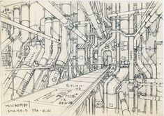 The Museum of Architectural Drawing in Berlin showcases the superb drawings of urban architecture made for a range of Japanese anime such as Ghost in the Shell. Environment Sketch, Sci Fi Environment, Environment Design, Perspective Drawing, Urban Architecture, Ghost In The Shell, Futuristic, Animation, Scenery