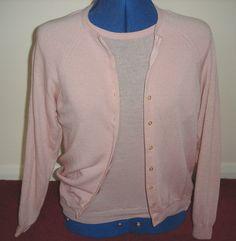 1960s vintage BEAR BRAND pink wool twinset/ short-sleeved jumper & cardigan (S) £30.99 (5B)