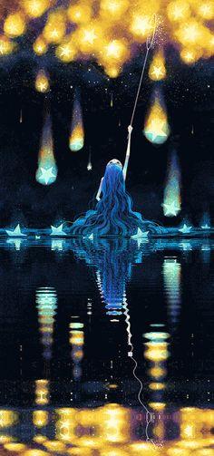 Olhando a noite estrelada, ela olhava como se esperasse que a noite a banhasse de felicidade. Art And Illustration, Art Illustrations, Anime Body, Anime Pokemon, Form Design, Animation, Wow Art, Art Model, Pretty Art