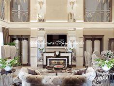 Дизайн-проект интерьера коттеджа. Фото гостиной с камином