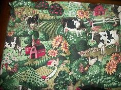 Country Kitchen Cow Chicken Rooster Farm Sunflower Apple curtain ...