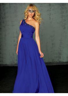 Rochie de seara lunga cu un umar, royal blue
