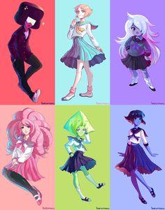 haru-naru,SU art,Steven universe,фэндомы,Pearl (SU),SU Персонажи,Garnet (SU),Amethyst (SU),Rose Quartz,Peridot,Lapis Lazuli