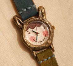 Reloj Vintage. Handstitch. Cuero banda / / / por metaletlinnen