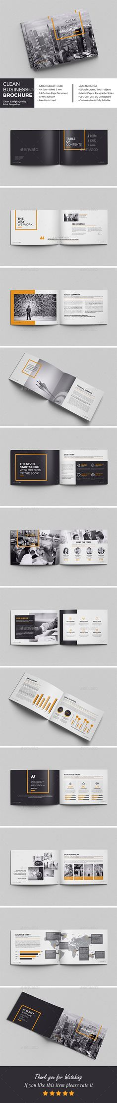 Clean Business Brochure — InDesign Template #identity #modern • Download ➝ https://graphicriver.net/item/clean-business-brochure/18101180?ref=pxcr