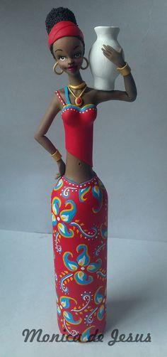 Doll Crafts, Diy Doll, Clay Crafts, African Dolls, African American Dolls, Plastic Bottle Crafts, Plastic Bottle Planter, Rajasthani Art, Clay Wall Art