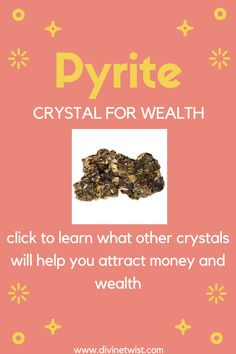 Pyrite (known as Fool's Gold) is a popular crystal for wealth. Click to find out what 5 other stones are the best crystals to attract money and wealth into your life! #crystals Crystals For Wealth, Healing Crystals For You, Healing Crystal Jewelry, Crystal Healing Stones, Stones And Crystals, Lucky Stone, Glass Gemstone, Attract Money, Fool Gold