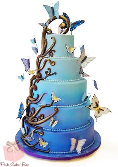 Ombr� Enchanted Butterfly Wedding Cake by Pink Cake Box