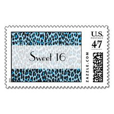 Sweet 16 - Animal Print, Spotted Leopard - Blue
