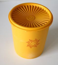 Vintage Yellow Tupperware Kitchen Canister ..... had these!