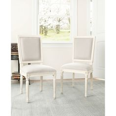 Provincial Carved Mahogany Light Grey/ White Side Chairs (Set of 2) | Overstock.com