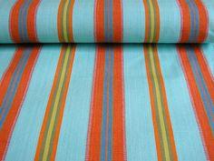 Petanque Deckchair Canvas - Turquoise and Terracotta Stripes