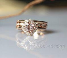 14K Rose Gold 3PCS Morganite Engagement Ring Set 5mm by RobMdesign