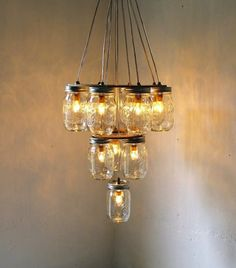 mason jar chandelier wedding DIY for vintage brides 2