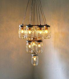 mason jar chandelier wedding DIY for vintage brides 2