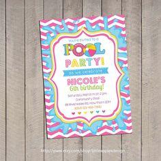 Pool Invitation / Pool Party Invitation / by LittleApplesDesign, $12.00
