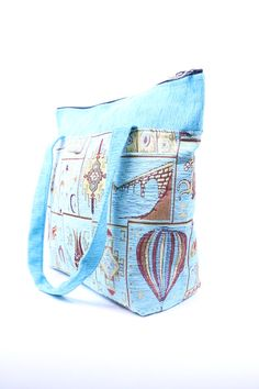 Hand Woven Tapestry Bag in Turquoise Gold Claret by BeyondTheSeaUS