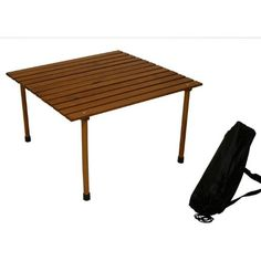Table in a Bag W2716 Original Low Wood Portable Table with Carrying Bag, Brown   Table in a Bag W2716 Original Low Wood Portable Table with Carrying Bag, Brown   Our classic table-on-the-go unrolls to a low profile for beach blanket bingo or casual dining at outdoor concerts or picnics. This perfect portable wood-top table features a roll-top design that stows with all pieces in a single bag. This lightweight but sturdy portable table is perfect for any indoor or outdoor activity, fr..