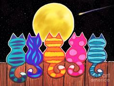 Moonlight Meowing by Nick Gustafson : Colorful Cats Mixed Media - Moonlight Meowing by Nick Gustafson Art Drawings For Kids, Drawing For Kids, Art For Kids, Crafts For Kids, Arts And Crafts, Art Fantaisiste, Cat Quilt, Fence Art, Cat Colors