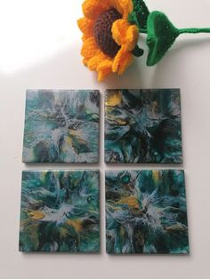 Grey and teal ceramic coaster set of 4 acrylic pour hand painted tiles, mini acrylic artwork, ideal gift for new home, gift for Auntie Painted Tiles, Hand Painted, Boho Ideas, Acrylic Artwork, Ceramic Coasters, Heart Cards, Free Gift Cards, Acrylic Pouring, New Home Gifts