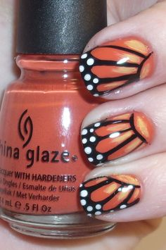 Butterfly nails - these are really cute, even though butterflies scare me.. haha