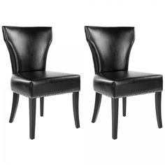 Black Leather Chairs Dining Living Room Set Of 2 Nailhead Side Accent Seating #Safavieh