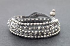 Grey Boho Rock Warp Silver Bracelet Necklace by XtraVirgin on Etsy, $13.00