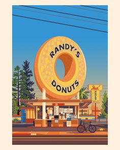 My tribute to Randy's Donuts, the iconic bakery and landmark building in Inglewood, Los Angeles. House Illustration, Pattern Illustration, Illustrations, Digital Illustration, Randys Donuts, Miyazaki Spirited Away, Grave Of The Fireflies, Palm Springs Houses, Spoke Art
