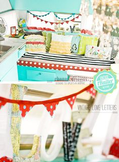 not crazy about the colors but i love the layers - Vintage LOVE letters. no-sew Buntings, curatins & pillows. Inside of my Dazey glamper. Glam Camping, Camping Glamping, Vintage Design, Vintage Love, Vintage Camper Redo, Vintage Campers, Shower Tent, Caravan Makeover, Retro Caravan