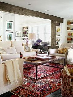 Rugs – Home Decor : This room is not only beautiful; The slipcovers are washable and the rug's pattern easily hides stains. Living Room Decor Cozy, Living Room Interior, Living Room Furniture, Living Room Carpet, Rugs In Living Room, Living Room Designs, Oriental Living Room Decor, Salons Cosy, Family Room Design