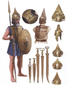 etruscan arms and armour - the chestplate is certainly interesting, and the pommels.