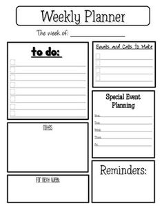 Here is the weekly planner sheet I use for organizing my week.  I keep a laminated copy on a clipboard on my desk.  ...