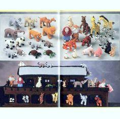 Vintage Crochet Pattern Noahs Ark and Animals Zoo Safari Farm Retro 1970s Soft Toy Nativity
