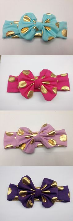 10pcs Gold Baby Headband Messy Bow Baby Head wraps Big Bow Baby Headband Head Wrap Newborn Infant Photo Prop Hair Accessories