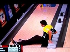 Pro bowler doesn't let go of ball, falls in gutter. Maybe the best bowling blooper of all-time.