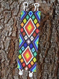 HUICHOL INSPIRED PEYOTE - Beadwork - Peyote Cuff - Colorful Bracelet