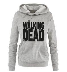 Comedy Shirts - THE WALKING DEAD - LOGO - Damen Hoodie - Grau / Schwarz Gr. M