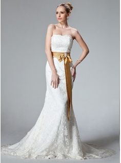 Trumpet/Mermaid Strapless Court Train Satin Lace Wedding Dress With Sash Beading Bow(s) (002000431) - JJsHouse