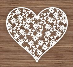 Flower heart design 2 PDF SVG (Commercial Use) Instant Download Digital Papercut Template by ArtyCuts on Etsy