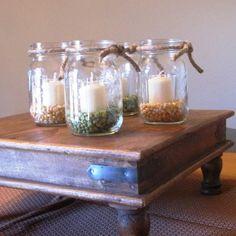 Fall Mason Jar with Candle - Set/4 Pints - Mason Jar Lighting with Rustic Charm for Autumn. $35.99, via Etsy.